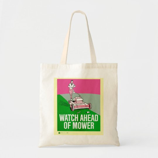Retro Vintage Kitsch Poster Watch Ahead of Mower Tote Bag