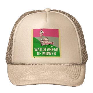 Retro Vintage Kitsch Poster Watch Ahead of Mower Trucker Hat