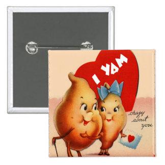 Retro Vintage Kitsch Potato Valentine I Yam Crazy Button