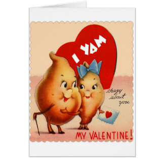 Retro Vintage Kitsch Potato Valentine I Yam Crazy Greeting Card