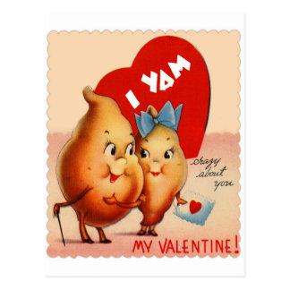 Retro Vintage Kitsch Potato Valentine I Yam Crazy Postcard