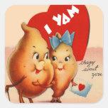Retro Vintage Kitsch Potato Valentine I Yam Crazy Square Sticker