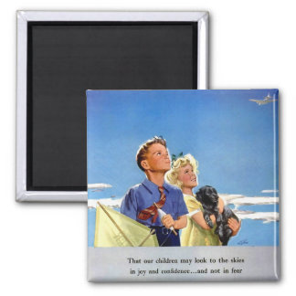 Retro Vintage Kitsch Propaganda What We Fight For 2 Inch Square Magnet