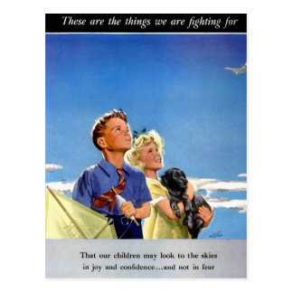 Retro Vintage Kitsch Propaganda What We Fight For Postcard
