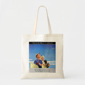 Retro Vintage Kitsch Propaganda What We Fight For Tote Bag
