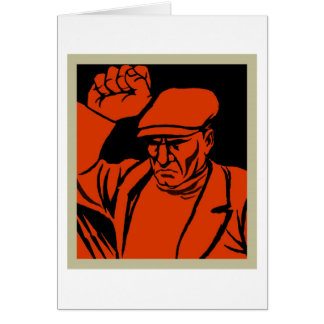 Retro Vintage Kitsch Propoganda Angry Worker Card