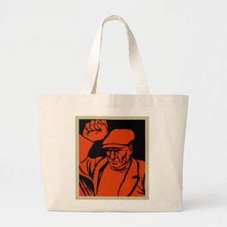 Retro Vintage Kitsch Propoganda Angry Worker Large Tote Bag