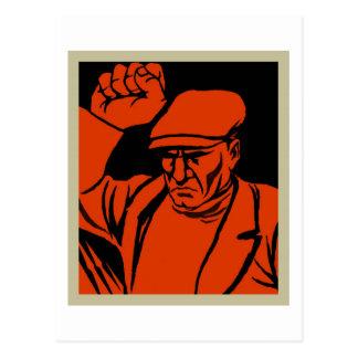 Retro Vintage Kitsch Propoganda Angry Worker Postcards