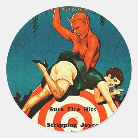 Retro Vintage Kitsch Pulp Hot Stories Magazine Classic Round Sticker