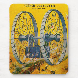 Retro Vintage Kitsch Pulp Sci Fi Trench Destroyer Mouse Pad