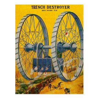 Retro Vintage Kitsch Pulp Sci Fi Trench Destroyer Postcard