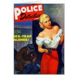 Retro Vintage Kitsch Pulp Women Police Detective Card