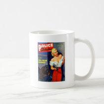 Retro Vintage Kitsch Pulp Women Police Detective Coffee Mug