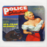Retro Vintage Kitsch Pulp Women Police Detective Mouse Pads