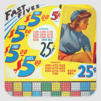 Retro Vintage Kitsch Punch board Gamble Fast Fives Square Sticker