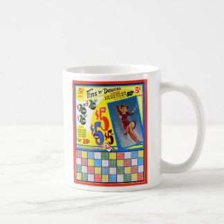 Retro Vintage Kitsch Punchboard Pin Up Fins Deuces Coffee Mug