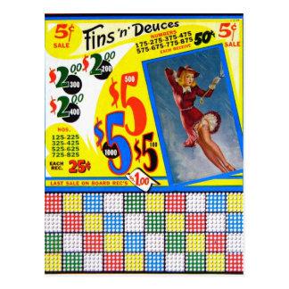 Retro Vintage Kitsch Punchboard Pin Up Fins Deuces Postcard