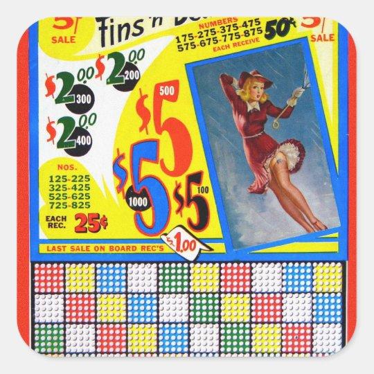 Retro Vintage Kitsch Punchboard Pin Up Fins Deuces Square Sticker