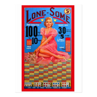 Retro Vintage Kitsch Punchboard Pin Up Lone Some Postcard