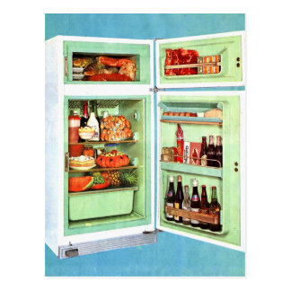 Retro Vintage Kitsch Refrigerator Fridge Stuffed! Postcard