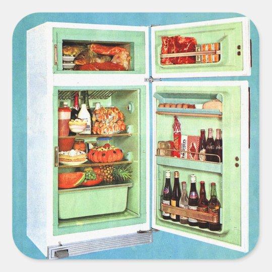 Retro Vintage Kitsch Refrigerator Fridge Stuffed! Square Sticker
