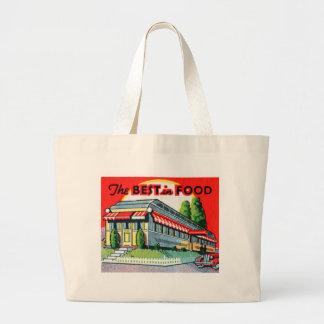 Retro Vintage Kitsch Restaurant Best in Food Large Tote Bag