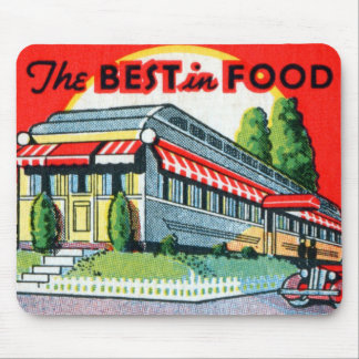Retro Vintage Kitsch Restaurant Best in Food Mouse Pads