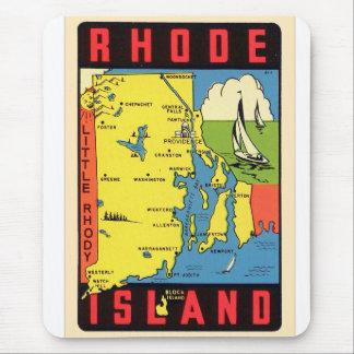 Retro Vintage Kitsch Rhode Island Rhody Decal Mouse Pad