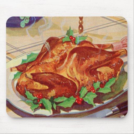 Retro Vintage Kitsch Roasted Turkey Cookbook Art Mouse Pad