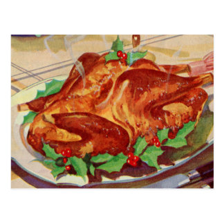 Retro Vintage Kitsch Roasted Turkey Cookbook Art Postcard