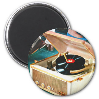 Retro Vintage Kitsch Rock & Roll Record Turntable 2 Inch Round Magnet