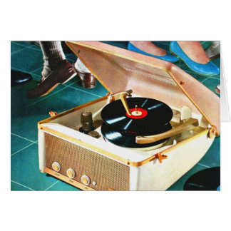 Retro Vintage Kitsch Rock & Roll Record Turntable Card