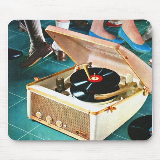 Retro Vintage Kitsch Rock & Roll Record Turntable Mouse Pad