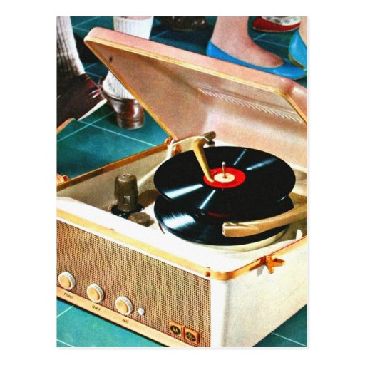 Retro Vintage Kitsch Rock & Roll Record Turntable Post Card