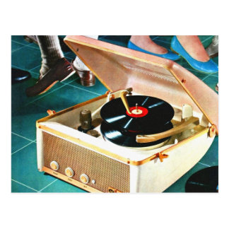 Retro Vintage Kitsch Rock & Roll Record Turntable Postcard