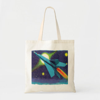 Retro Vintage Kitsch Rocket to Outer Space Canvas Bag
