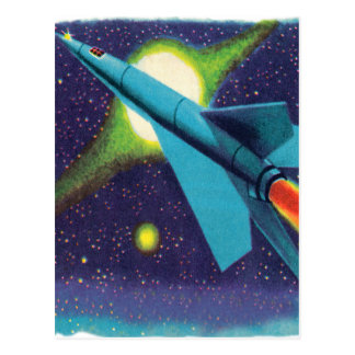 Retro Vintage Kitsch Rocket to Outer Space Postcard