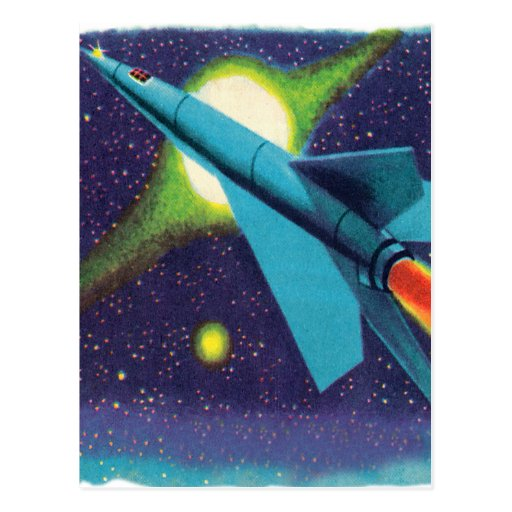 Retro vintage kitsch rocket to outer space postcard zazzle for Retro outer space