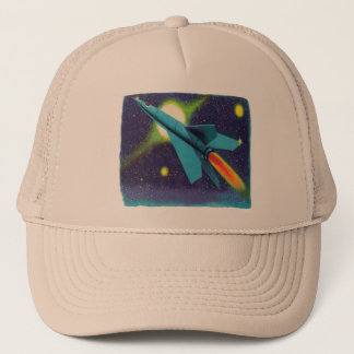 Retro Vintage Kitsch Rocket to Outer Space Trucker Hat