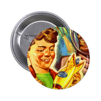 Retro Vintage Kitsch Rockets Outer Space Boy Buttons