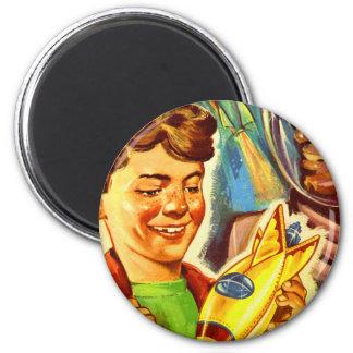Retro Vintage Kitsch Rockets Outer Space Boy Fridge Magnet