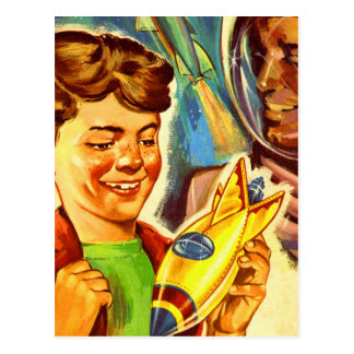 Retro Vintage Kitsch Rockets Outer Space Boy Postcard