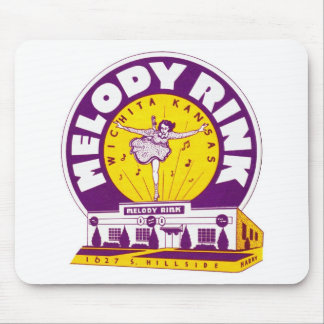 Retro Vintage Kitsch Rollerskating 'Melody Rink' Mouse Pad