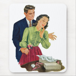 Retro Vintage Kitsch Romance Dating Surprise Gift Mouse Pad