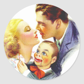 Retro Vintage Kitsch Romance Kiss Three's a Crowd Classic Round Sticker