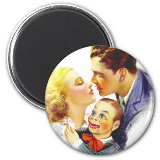 Retro Vintage Kitsch Romance Kiss Three's a Crowd Magnet