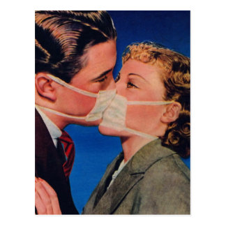 Retro Vintage Kitsch Romance Kissing Germ-Free! Postcard
