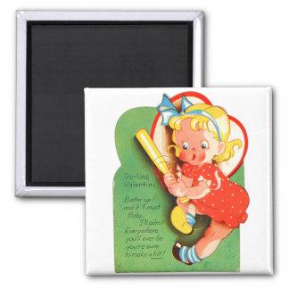 Retro Vintage Kitsch School Valentine Batter Up 2 Inch Square Magnet