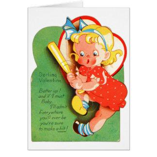 Retro Vintage Kitsch School Valentine Batter Up Greeting Card
