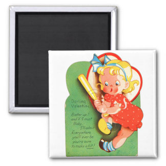 Retro Vintage Kitsch School Valentine Batter Up Magnet